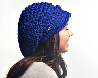 Cobalt Blue Womens Hat Blue Newsboy Hat - Crochet Newsboy Hat Cobalt Blue Crochet Hat - Blue Hat Blue Beanie Womens Accessories