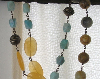 Assymetrical Multicolor with Bronze Necklace