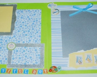 Premade Scrapbook Set Two 12x12 Pages Beautiful Baby Boy One of a Kind