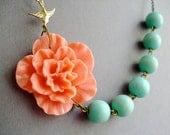 Flower Necklace,Floral Necklace,Coral Necklace,Bridesmaid Necklace,Aqua Necklace,Bird Necklace,Bridesmaid Jewelry Set,Coral Jewelry,Gift