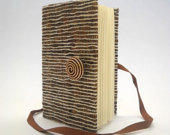 Writing notebook journal with lined paper - textured fabric - Beige Brown Silver - Personal fabric diary - blank book- spiral button
