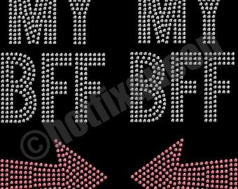 My BFF Best Friends Forever Set of 2 Hotfix Rhinestud Shirt Transfer