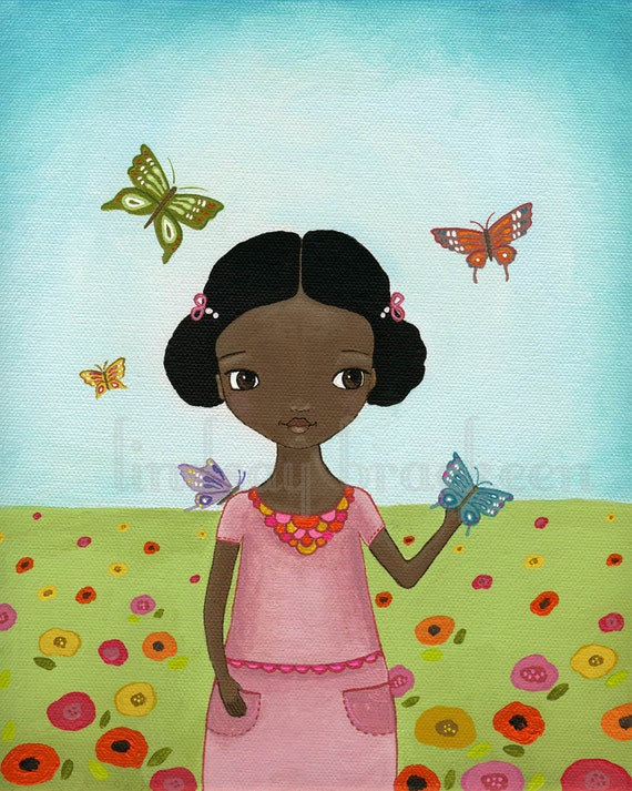 Butterfly Flowers African American Girl Wall Art Print