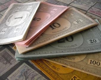 Vintage 1935 Monopoly Money assorted denominations lot of 26 paper ephemera