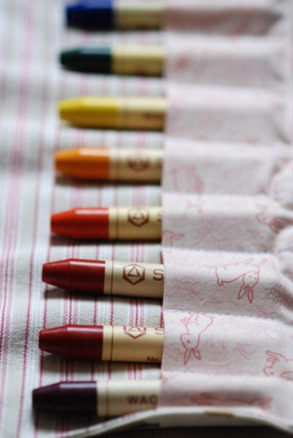 Crayon Roll - pink bunnies