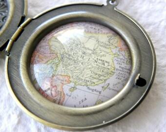 China Map Locket - China Necklace featuring Hong Kong, Shanghai, Nanking, and more - Perfect gift for an Adoptive Mother