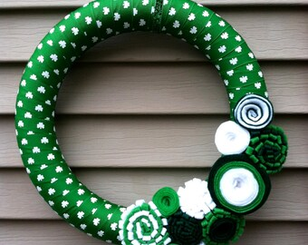 St. Patricks Day Wreath - Green & White Shamrock Ribbon Wreath decorated w/ felt flowers.  Shamrock Wreath - St. Patty's Wreath