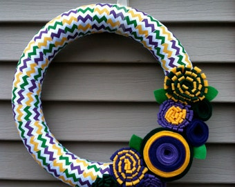 Mardi Gras Wreath - Chevron Ribbon Wreath -  Felt Flower Wreath - Easter Wreath - Mardi Gras Decor - Ribbon Wreath - Mardi Gras Flowers
