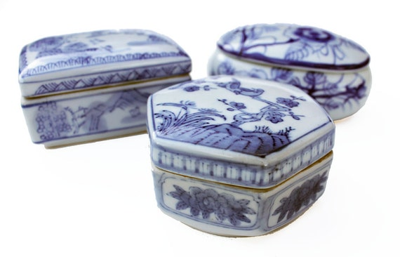 Collection of Blue and White Vintage Trinket Boxes- Set of Three Porcelain and Ceramic