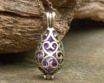 Recycled Antique Amethyst Bottle Necklace/Lavender/Upcycled Recycled Repurposed/Old Bottles/Handmade/Filigree/Rustic/Gift for Her/Handmade