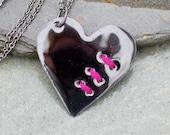 Mended Broken Enamel Heart Pendant Necklace Copper Enameled Jewelry Sewn Black Pink
