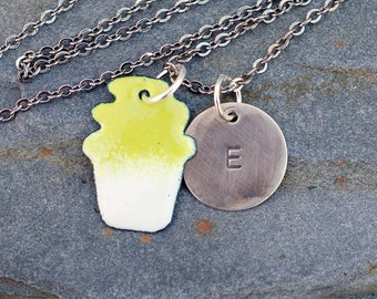 Enamel Cupcake Necklace Pendant Custom Handstamped Initial Enameled Jewelry Yellow Green