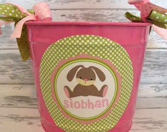 custom personalized 10 QUART name bucket in pink and green with a stuffed baby bunny