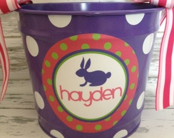 custom personalized 10 QUART name bucket in purple, pink and green