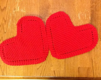 2 heart dishcloths