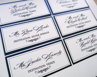 Elegant Flourish Layered Escort Cards with Guest Name Printing