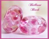 Fuchsia & Pastel Pinks Handmade Lampwork Glass Bead Pair, Made To Order