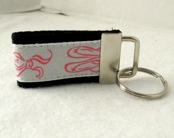 HALF OFF - Ballet Mini Key Fob -  Dance Keychain  - Ballet Slipper Key Ring - Dance Zipper Pull - BLACK
