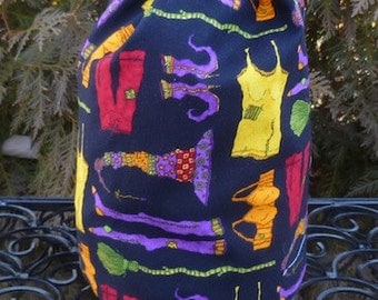 Witch knitting project bag, WIP bag, drawstring bag, witches undies Suebee