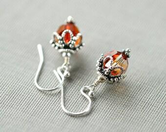 Crystal Earrings, Swarovski Crystal Jewelry, Swarovski Crystal, Sterling Silver Earrings, Pumpkin Earrings, Christmas Gift ,Sugar Rococo