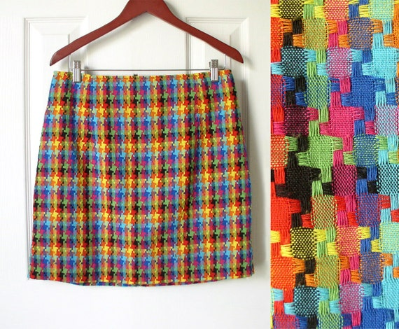 RESERVED for Laura-Vintage 90s Fashion Bright Colorful Houndstooth Check Mini Skirt Plus Size 13 / 14