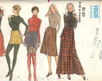Vintage 1970s Wrap Skirt Vogue Sewing Pattern 8125