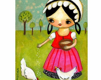 Chicken folk art Feeding the CHICKENS hens sweet PRINT from an original folk art painting by tascha