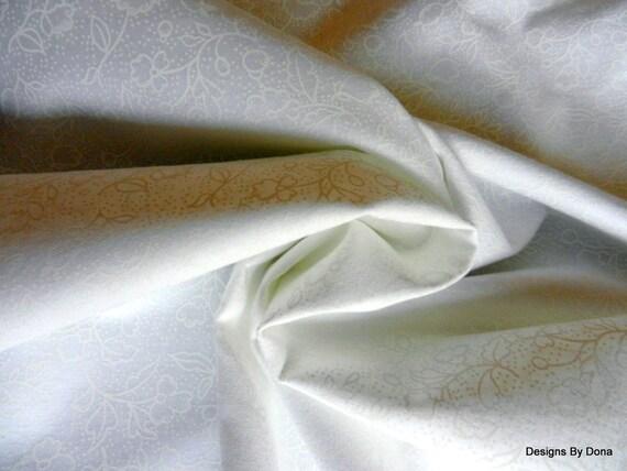 One Half Yard Cut, Quilt Fabric, White on White Floral Designs ... : white tone on tone quilt fabric - Adamdwight.com