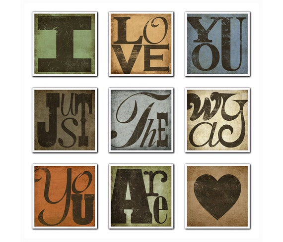 BILLY JOEL Typography Song Lyric Art Lyric Print  Set - I Love You Just The Way Your Are---9 Print Set