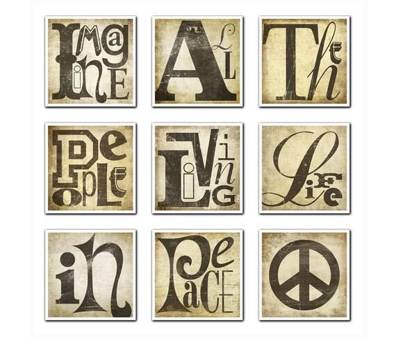 JOHN LENNON 9pc Fine Art Print Set Quote Lyric Print Set Typography Art - Imagine All The People Living Life In Peace