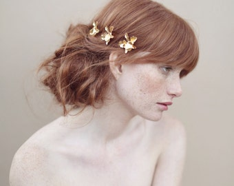 Bridal hairpin, gold orchids, bobby pins, flowers - Gold plated petite orchid bobby pin set of 3 - Style 360 - Ready to Ship