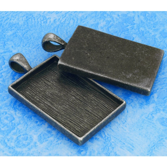 20 pcs 25.5X38mm Great rectangle antique Silver Pewter bezel blank Pendant Tray