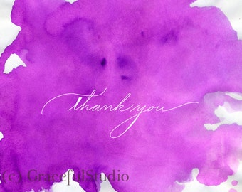 Note Card Set - Magenta Watercolor Thank you Notes Set of 10 with Envelopes