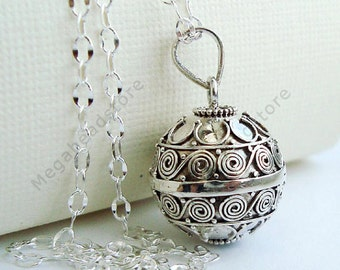 "16mm Pregnancy Necklace Mexican Bola Belly Bell 36"" Chain 925 Sterling Silver P74CH67"