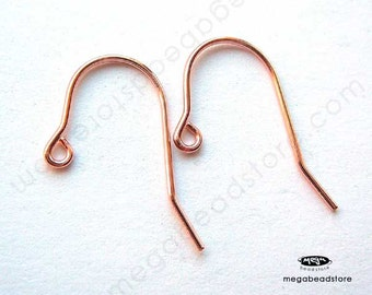 10 pcs Rose Gold Filled Earwires 20 Gauge 14K GF French Ear Wires F396RGF Marked 1/20 14K