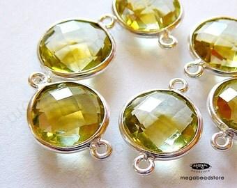 4 pcs 10mm Lemon Quartz Bezel Gemstone Sterling Silver 2 loops F391S