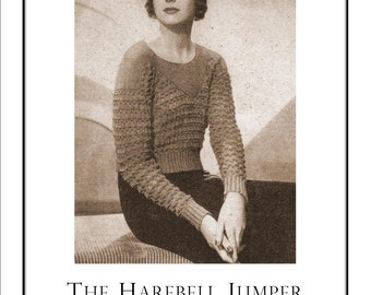 1933  Ladies Harebell Sweater and Hat Vintage Knitting Pattern pdf  Digital delivery