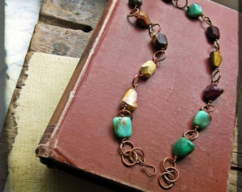 Mookaite Chrysoprase necklace, Raw copper wire wrapped faceted semiprecious stone nuggets - Autumnal