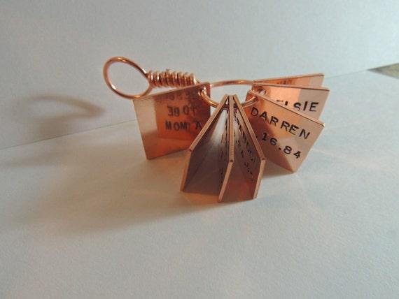 Memory keepsake - Book of Love hand stamped in copper keychain