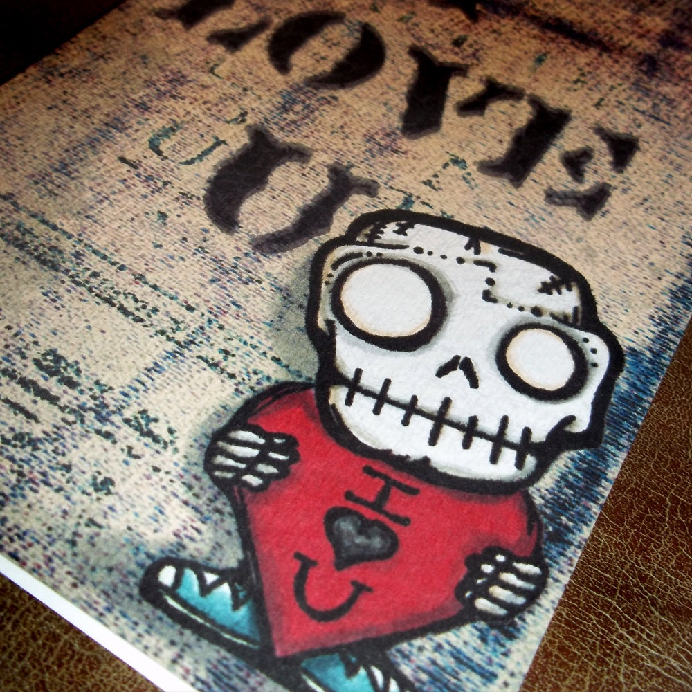 Cute Skull Valentine's Day The Kiss Love Card By Agorables