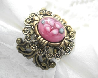 Raindrops on Roses - Pink Floral Glass and Antiqued Brass Victorian Style Ring