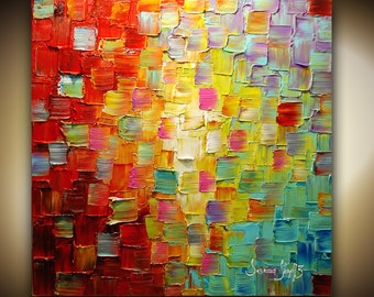 Abstract Painting Original Art Multicolored Textured Painting on Canvas Ready to Hang 30x30 by Susanna Made2Order