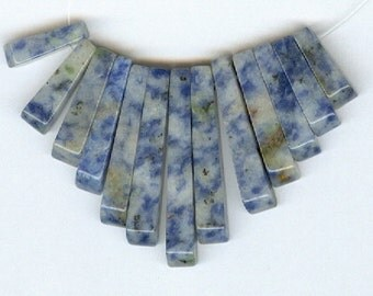 Blue Denim Lapis Gemstone Cleopatra Collar Fan Beads 13 Piece Graduated Stick Spike Bead Set