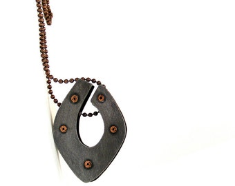 Oxidized Steel and Oxidized Copper Riveted Pendant Necklace -Obvious