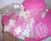 Monogrammed Floppy Hat Sash Hat for Derby Wedding Bride Bridesmaid Designer Ribbons