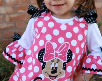 Hot Pink DOT Minnie Mouse Face Applique Monogram A-line Dress and Matching Ruffle Sleeve T-shirt