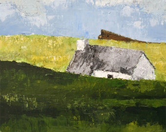 Original Acrylic Landscape Art Palette Knife Cornish Cottage in Greens Blues and Greys