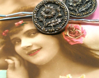 Antique BUTTON hair pins, French Victorian FLOWERS, blue on silver bobby pins, hair grips.