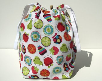 HOLIDAY SALE - Fruits Knitting Drawstring Project Bag