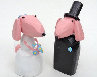 Poodle Wedding Cake Toppers   Custom Wedding Cake Toppers  Pink Wedding   Dog Wedding   Bride and Groom Dogs